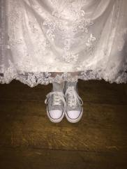 My wedding dress + evening shoes